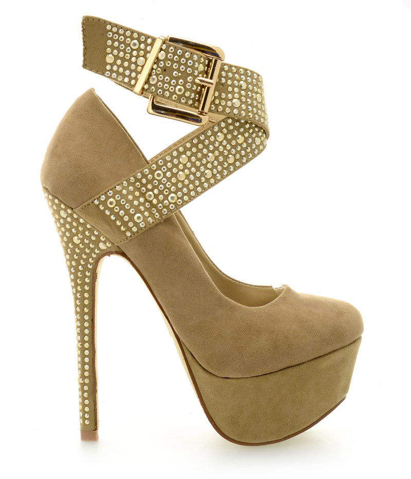 LADIES DIAMANTE ANKLE STRAP HIGH HEEL PLATFORMS WITH GOLD BUCKLE SIZE