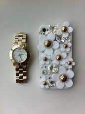 jewels,phone cover,gold,white,floral,diamonds,flowers