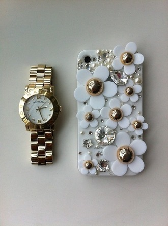 jewels phone cover gold white floral diamonds flowers