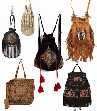 bag purse boho chic boho hippie shoulder bag cute style girly native american tribal pattern fringed bag