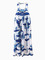 Blue floral print maxi summer dress