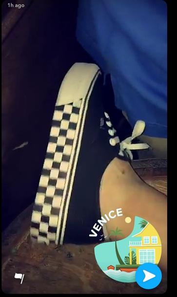 shoes vans heels black white tana mongeau checkered blackamdwhitecheckss