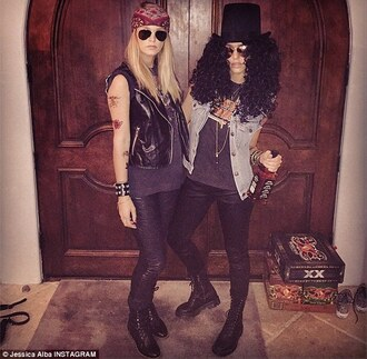 black jeans sunglasses jacket leather jacket slash and axl curly hair top hat alcohol bff day slash axl rose