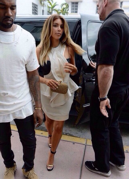 black kanye west dress beige tank top kim kardashian streetstyle clutch high heels blouse