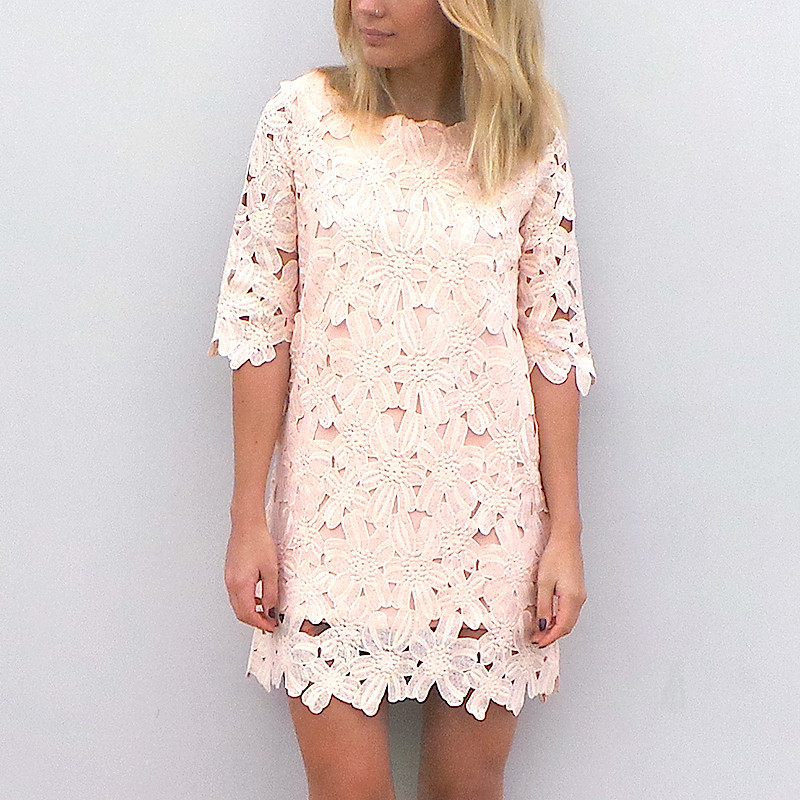 Lace Shift Dress in Pink Blush by Little By Little