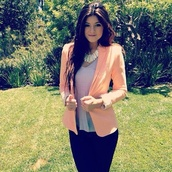 jacket,kylie jenner,jewels,blazer,peach color
