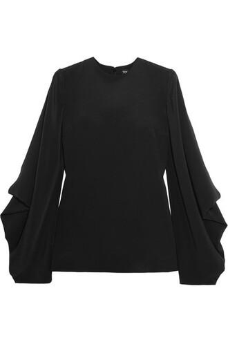 blouse draped black silk top