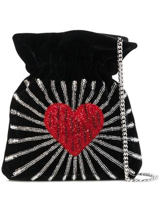 heart women bag bucket bag leather cotton black
