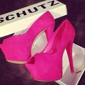 shoes,pink,pumps,suede,platform shoes,platform high heels,schutz,pink high heels