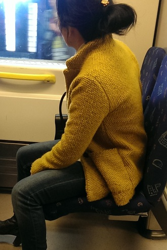 jacket mustard yellow wool knitted jacket