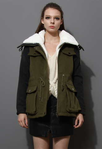 coat shearling wool military style
