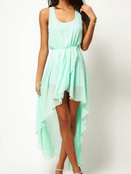 Light green scoop neck sleeveless asymmetrical mid waist chiffon dress