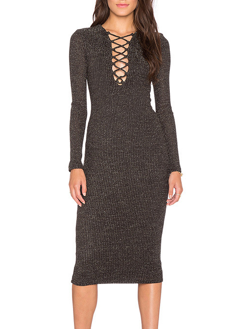 Knitted Midi Dress with Criss Cross Neck|Disheefashion