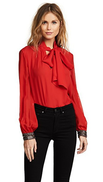 ramy brook blouse embellished red top