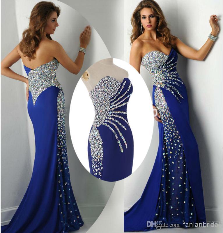 2015 Mermaid Prom Dresses Crystal Eveinng Gowns 2014 Sweetheart ...