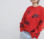 sweater,red,black,black and red,red and black,sweatshirt,nike sweatshirt,nike sweater,nike,all over print sweatershirts,nike windrunner all over print,all over printed clothing