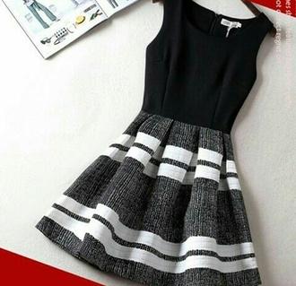 dress black dress black and white white black white dress grey day dress mini dress girly style grey dress stripes striped dress
