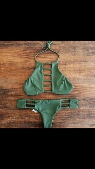 swimwear olive green cute summer hot tumblr