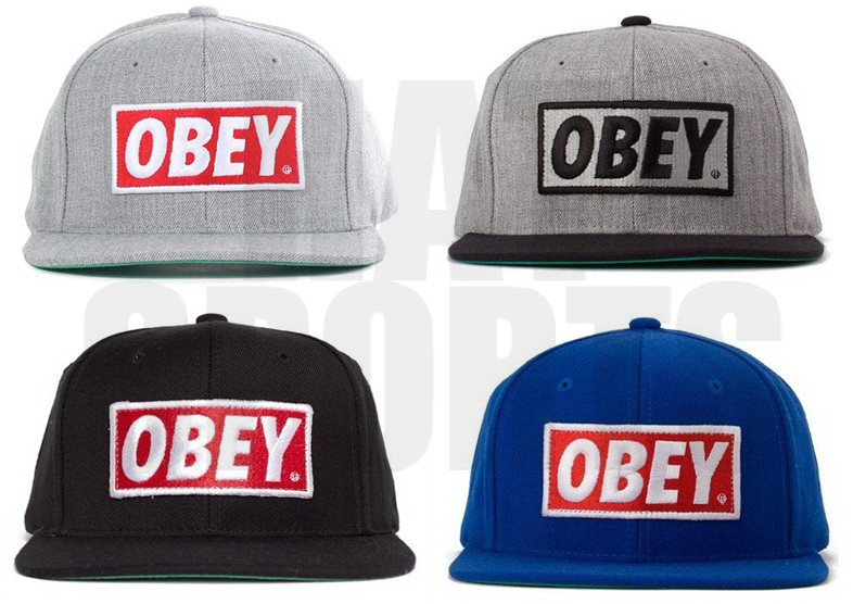 Obey Original Snapback Cap Heather Grey Black Blue Red / DISCOUNT