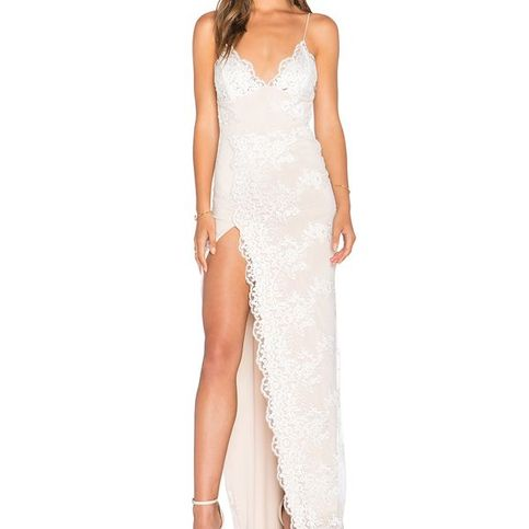 Nude Lace Floral Maxi Slit Elegant Dress on Storenvy