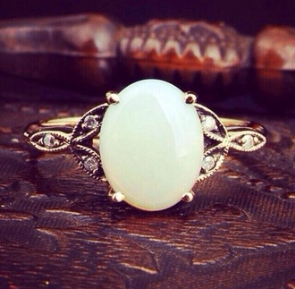 jewels cute ring pll ice ball gemstone ring ring white gemstone