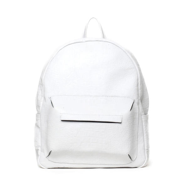 White mock croc town backpack | Asya Malbershtein