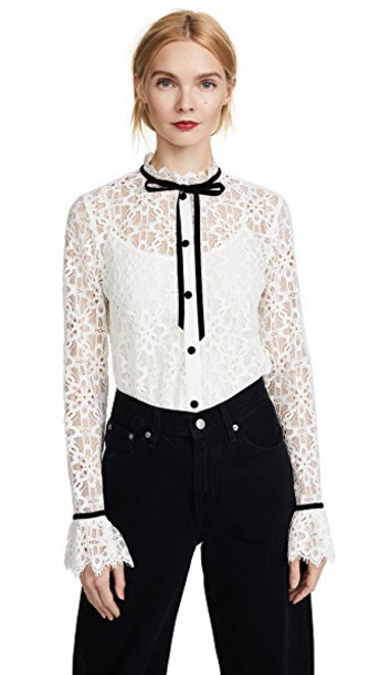 Temperley London shirt lace shirt lace white top