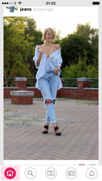 blouse sky blue buttons loose top boyfriend jeans jeans