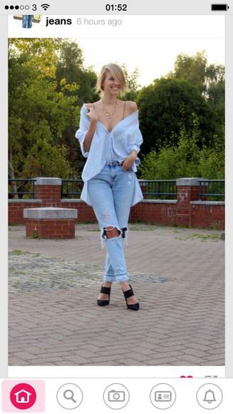 blouse buttons sky blue loose top boyfriend jeans jeans