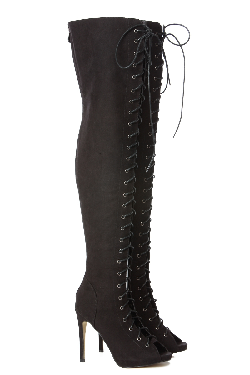 Lace up thigh high electra boots @ cicihot boots catalog:women's winter boots,leather thigh high boots,black platform knee high boots,over the knee boots,go go boots,cowgirl boots,gladiator boots,womens dress boots,skirt boots.