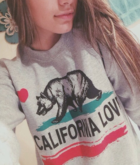 california sweater hoodie girl bear grey green