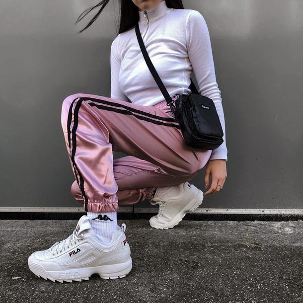 pants silk satin girly pink track pants joggers tumblr