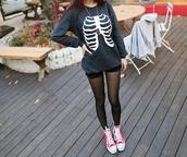 jacket,black skeleton,coat,kawaii,japanese,fashions,style,fur,fluffy,gorgeous,cozy,warm fabric