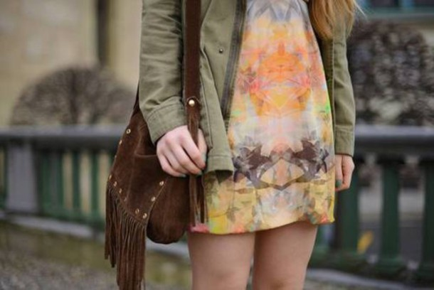 dress colorful hipster dress
