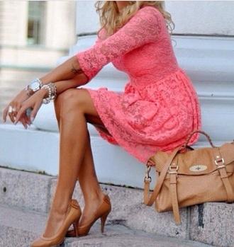 dress brown leather bag women leather handbags women's handbags handbag coral skater dress lace dress pink lace dress bag shoes