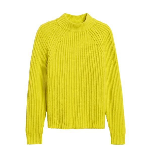 Banana Republic Women's Chunky High Crew-Neck Sweater Neon Yellow-Green Regular Size XS