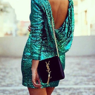 dress sexy dress prom dress turquoise green dress sea green teal sequins sequins