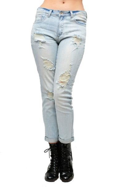 Jeans new tumblr jeans boyfriend jeans denim ripped jeans ripped denim light washed denim ...
