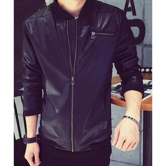 jacket menswear mens jacket guys kfashion leather jacket leather faux leather fall outfits zip boyfriend rose wholesale