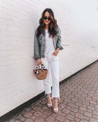 shoes sandals white sandals sunglasses jeans white jeans top white top denim denim jacket