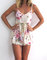 Pink blossom pom pom jumpsuit / playsuit, short beach dress, floral print skort shorts