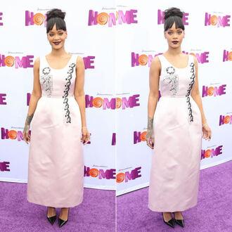 dress pumps rihanna dior pink dress midi dress gown