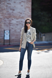t-shirt,tumblr,white t-shirt,blazer,denim,jeans,blue jeans,skinny jeans,loafers,white shoes,sunglasses,shoes,jacket