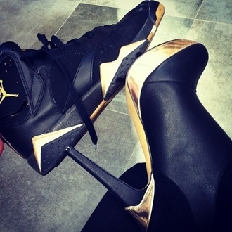 shoes jordans high heels gold black heels nike shoes black gold jordans black gold high heels matching couples black and gold heels sneakers sport shoes black shoes gold shoes cute