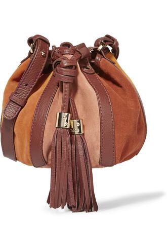 bag bucket bag leather suede tan brown