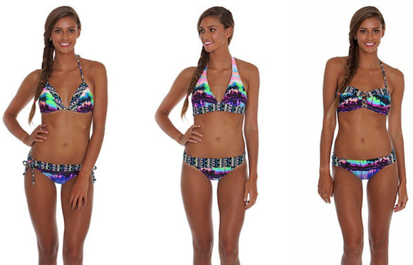 swimwear bikini vibrant vibrant bikini tropical palm tree print gossip swim palmtrees vibrant color