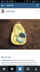 bag,yellow backpack,backpack,walmart