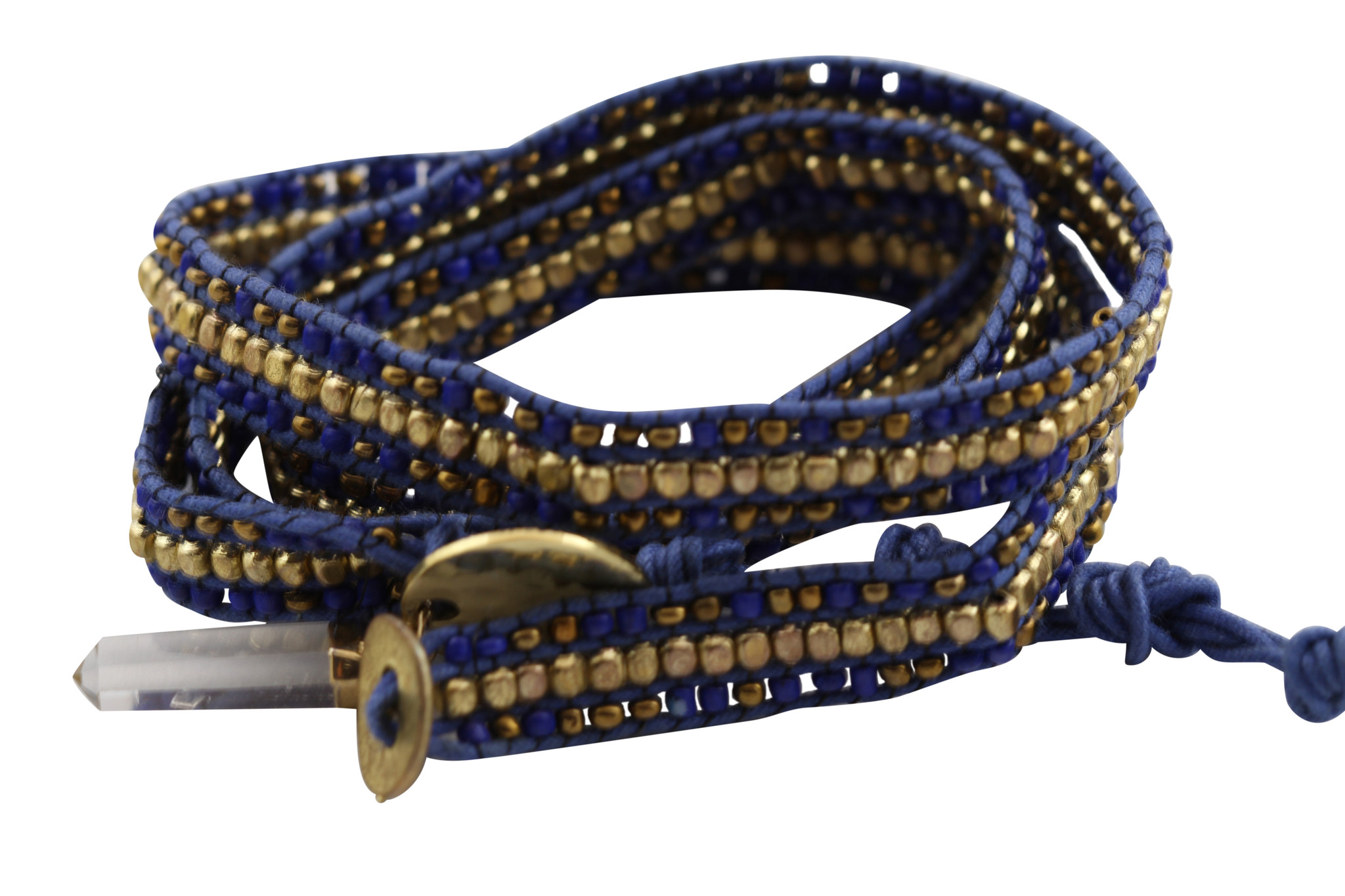 Wrap bracelet with quartz & hammered brass charms