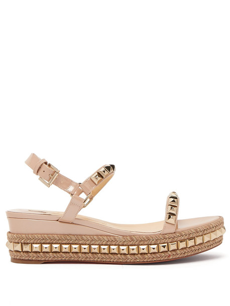 CHRISTIAN LOUBOUTIN Cataclou 60 leather flatform espadrille sandals in gold
