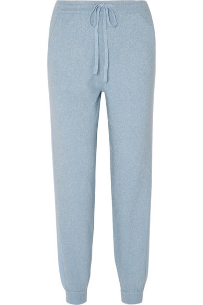 Allude pants track pants metallic light blue wool light blue